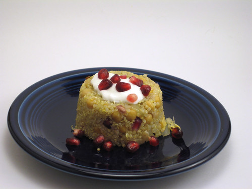Quinoa Pilaf With Chick Peas, Pomegranate and Spices
