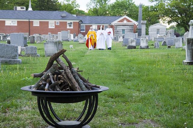 Walking towards Easter Vigil Fire