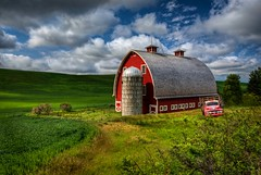 Classic Palouse Red Barn HDR (Fresnatic) Tags: sky clouds oldbarns pacificnorthwest farms hdr lightroom wheatfields redbarns easternwashington whitmancounty oldtrucks photomatix rurallandscapes thepalouse colfaxwashington hdraddicted canonrebelxsi fresnatic photoshopcs5 barnsinwheatfields redbarnsofthepalouse