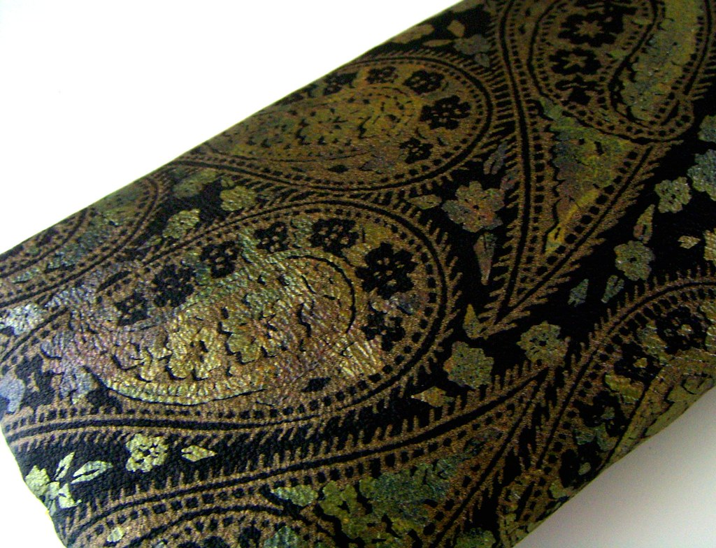 Paisley Embossed Leather Clutch