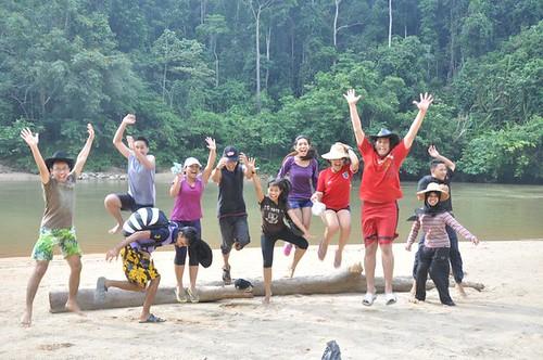jumping in kampung orang asli