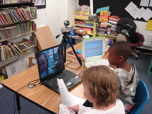 Students in Brian Crosby's classroom using Skype