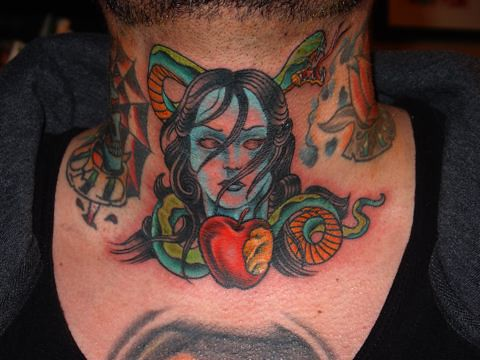 Picture of Evil Neck Tattoo