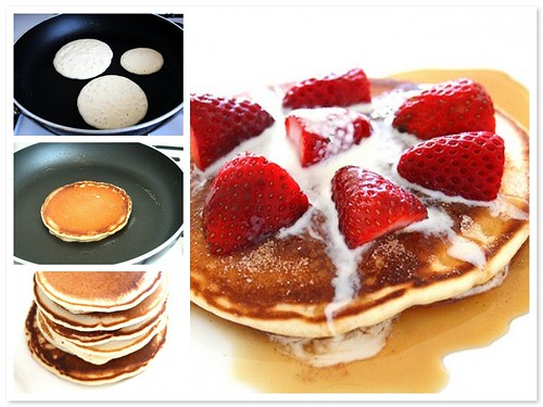 pancakes - (also known as hotcakes, griddlecakes, or flapjacks in the U.S.)