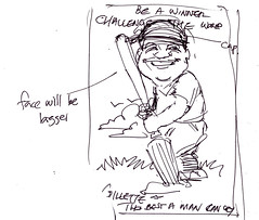 Gillet caricature cricket player draft