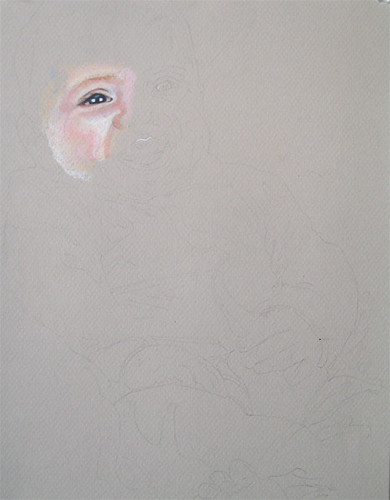 In progress photo of colored pencil portrait entitled Benjamin.