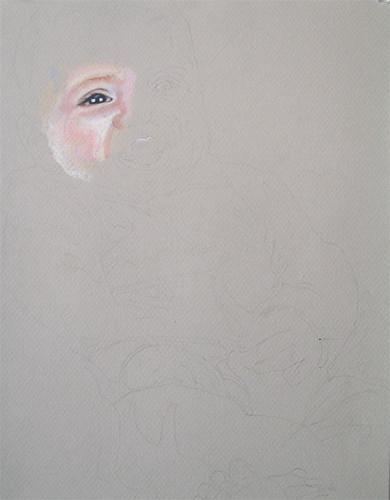 In progress photo of colored pencil portrait entitled Benjamin.