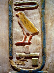 Cartouche from the Sanctuary in the Temple of Mentuhotep II at Deir el-Bahri (ggnyc) Tags: nyc newyorkcity bird animal animals wall museum temple ancient manhattan egypt carving chick relief egyptian met sanctuary thebes hieroglyphics metropolitanmuseumofart ancientegypt egyptology egyptianart deirelbahri mentuhotep mentuhotepii nebhoteprementuhotep