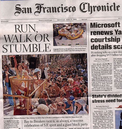 San Francisco Chronicle Bay to Breakers Front Page