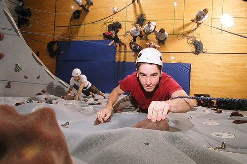 The climbing wall at Ithaca College