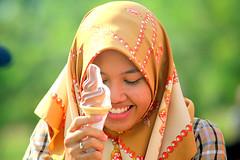 kIMG_6822 (Sam's Exotic Travels) Tags: girl smile sam muslim islam hijab brunei sams headdress icecreamcone travelphotos samsays samsexotictravelphotos exotictravelphotos samsayscom