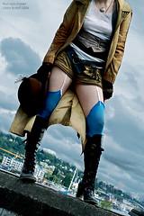 Blue Stockings (exoskeletoncabaret) Tags: seattle blue stockings cyan androgyny gasworkspark fluevog steampunk abneypark vintagepunk anachrotechnofetishism finnvonclaret anarchotechnofetishism