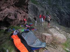 Campu di Vetta : dîner et préparatifs du bivouac à l'extrémité S de la vire