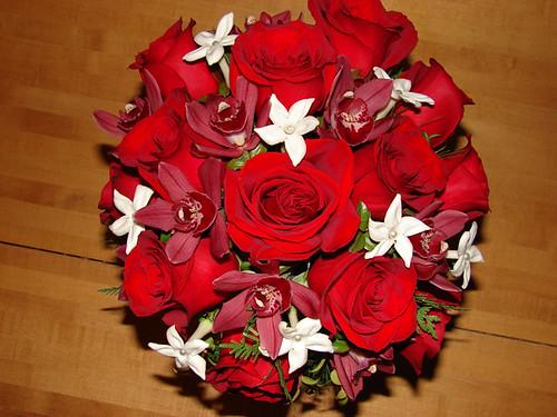Red Rose, Cymbidium Orchid and Stephanotis Wedding Bouquet