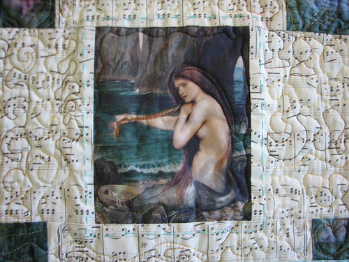 william waterhouse mermaid printed on fabric
