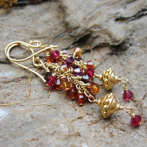 Autumn Leaves Earrings - Swarovski Crystal and Bali Gold-Plated Earring