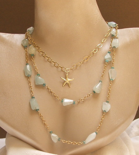 Long Gold Aquamarine and Apatite Necklace