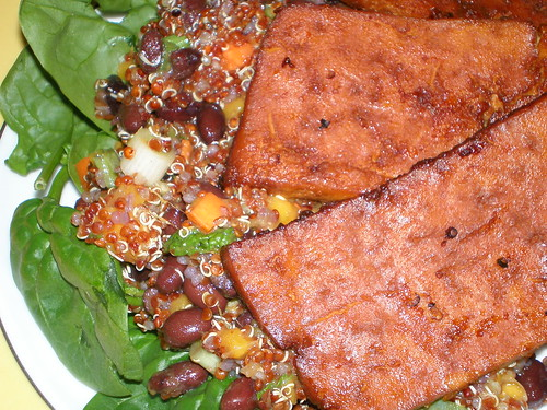 Tangerine Baked Tofu With Quinoa Salad With Black Beans
