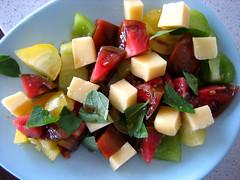 Lexington Salad (aunty saint deb) Tags: black cheese tomato salad lexington zebra goldie cheddar heirloomtomato lexingtonfarmersmarket amishcheese