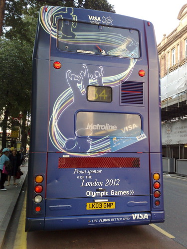 Olympics London 2012 Visa sponsored bus - back