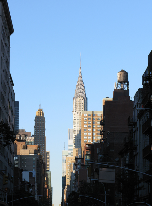 the Chrysler Building up Lexington Avenue, Manhattan, NYC