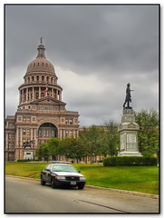 Texas Capitol (Mike G. K.) Tags: usa grass car statue austin texas tx capitol dome sheriff hdr blueribbonwinner photomatix tonemapped pseudohdr 1exp citrit singlejpghdr mikegk:gettyimages=submitted