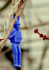 Chronicles Of The Parachute Guy: *March 28, 2008* (J.Doyon Photography) Tags: blue tree toy bokeh sony cybershot sonycybershot variotessar carlzeisslens parachuteguy dsch3 sonycybershotdsch3