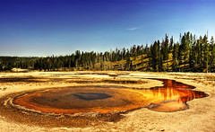 yellow (Wolfgang Staudt) Tags: road travel blue sky usa mountains pool yellow fog nationalpark spring montana kodak meadow idaho yellowstonenationalpark yellowstone wyoming elk geyser visitors amerika bison eruption hotsprings grizzlybear uppergeyserbasin kodakv570 doubletpool wolfgangstaudt