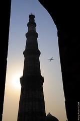 Dawn of a new era (Anurag Prashar) Tags: monument plane sunrise dawn minaret delhi aeroplane historic tall qutub minar newdelhi qutubminar anurag d300 i500 interestingness339 prashar colourartaward ilovemypics explore20081013