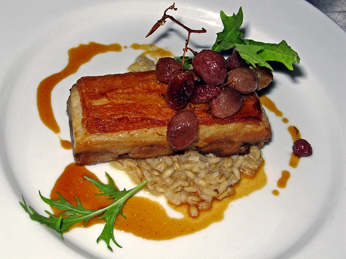 Berkshire Pork Belly with Barley & Oven-dried Grapes