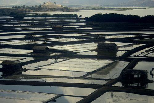 aerial of Bima salt ponds