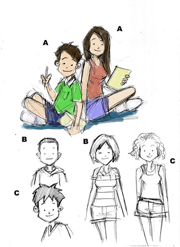 The Learning Boutique mascots pencil sketches (colour schemes)