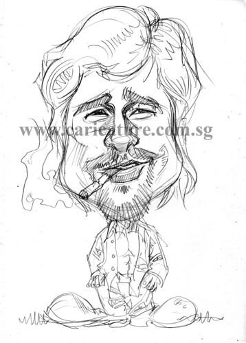 Celebrity caricatures - Brad Pitt pencil sketch watermark