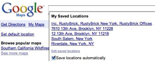 Google Maps Saved Locations