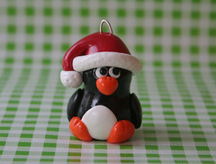 Penguin Christmas Ornament (fliepsiebieps1) Tags: santa christmas winter sculpture bird hat animal penguin holidays handmade decoration christmastree polymerclay fimo ornament santaclaus figurine natale pinguin pinguino kerstmis kerstboom kerst pinguine