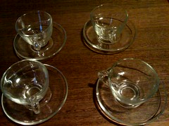 Glass cups and saucers (smperris) Tags: freecycle