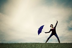 (morgan.laforge) Tags: blue sky girl grass clouds umbrella dancing
