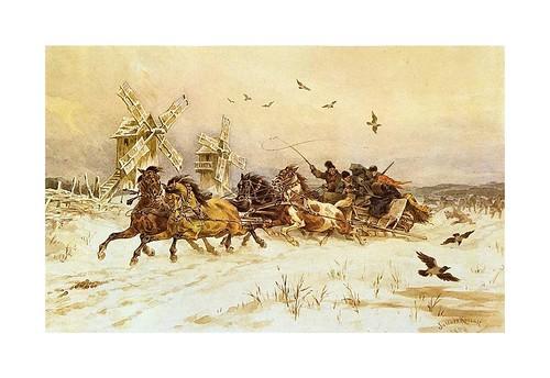 020- Lobos atacando a un trineo 1879-acuarela-Juliusz Kossak