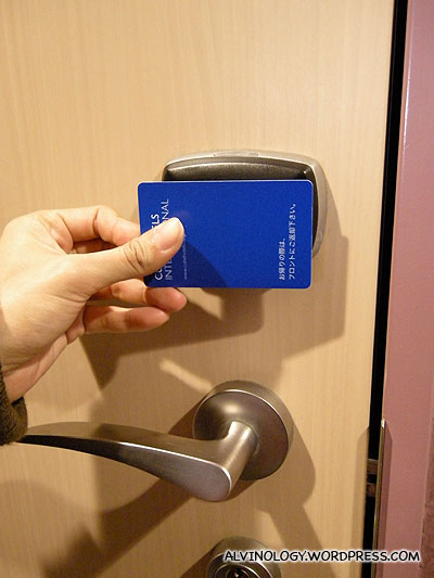 Card keys are used to open the hotel room doors