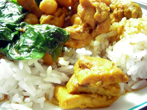 Turmeric chicken with chickpeas and greens