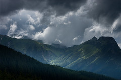 Before the storm (P.Sobczyk (away)) Tags: wood trees light shadow summer sky storm mountains rain clouds hill poland valley edge hillside picks tatry