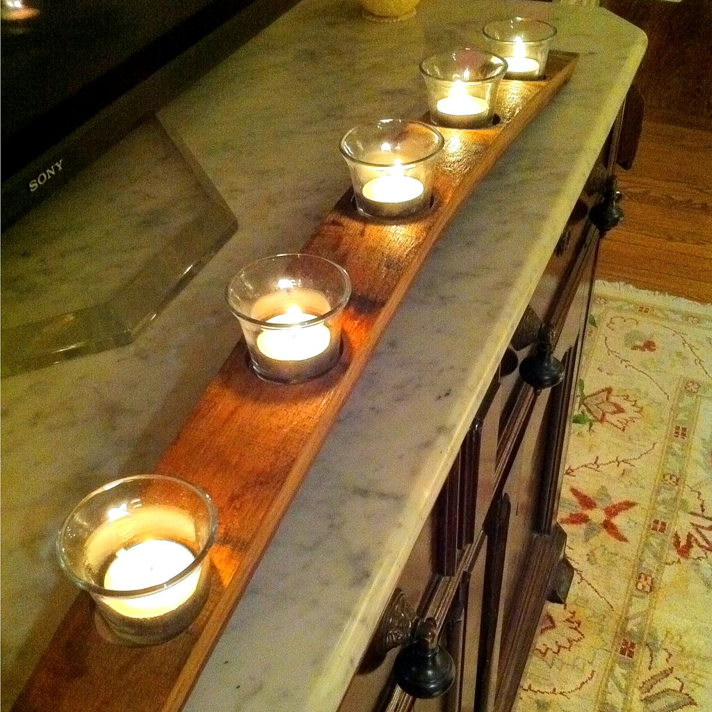 let there be light wine barrel turned candle holder old town home