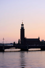 City hall (Sebastian Troedson) Tags: city bridge sunset reflection water silhouette three hall nikon stockholm stadshuset crowns d7000