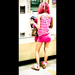 Verticals: Pinky girl (manganite) Tags: street girls people hot color cute topf25 colors beautiful beauty station fashion festival japan modern digital train hair geotagged asian japanese cool colorful asia pretty legs tl framed candid young machine teens style ticket skirt chiba babes fancy teenager  hotties onecolor nippon d200 nikkor dslr gals cuties topf100 miniskirt matsuri ganguro girlies nihon narita kanto stylish japanesegirl gyaru 50mmf18 fav100  utatafeature manganite nikonstunninggallery naritagionmatsuri thecolorpink date:year=2006 geo:lat=35777823 geo:lon=140314363 date:month=july format:ratio=21