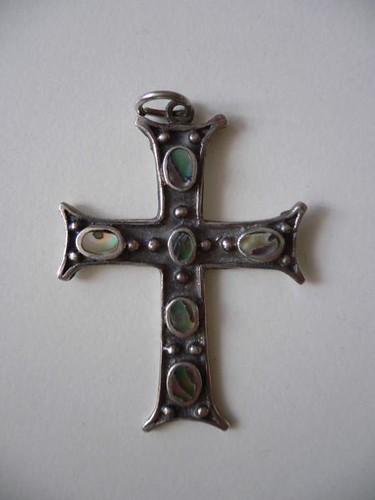 Opal on sterling silver cross pendant