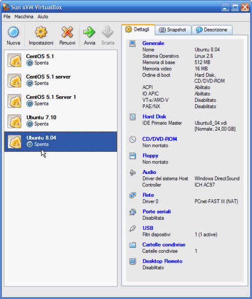 Fig. 4 - VirtualBox - schermata principale del programma
