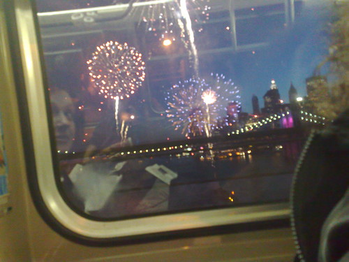 Watching fireworks from mass transit