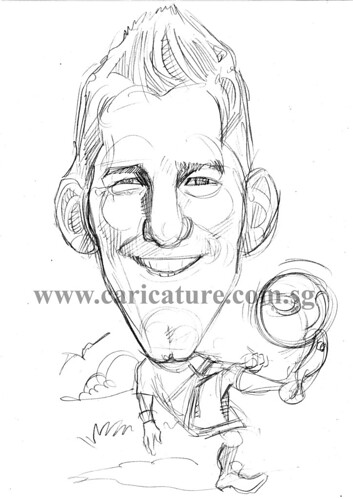 Caricature of Bastian Schweinsteiger pencil sketch watermark