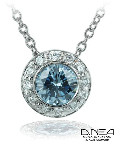 TP1 - Pave Cluster Blue Diamond Pendant by Jane Taylor