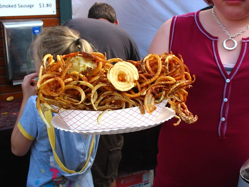 curly fries and onions as big as two heads